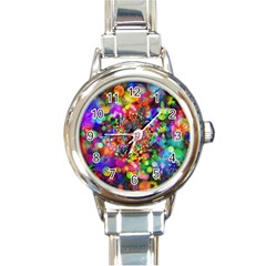 Background Color Pattern Structure Round Italian Charm Watch