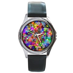 Background Color Pattern Structure Round Metal Watch