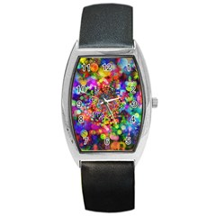 Background Color Pattern Structure Barrel Style Metal Watch