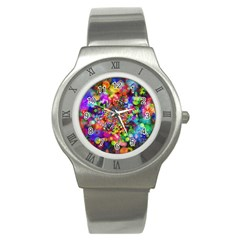 Background Color Pattern Structure Stainless Steel Watch
