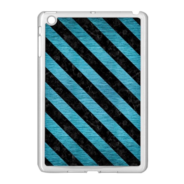 STRIPES3 BLACK MARBLE & TEAL BRUSHED METAL Apple iPad Mini Case (White)