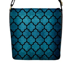 Tile1 Black Marble & Teal Brushed Metal Flap Messenger Bag (l)