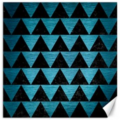 Triangle2 Black Marble & Teal Brushed Metal Canvas 20  X 20