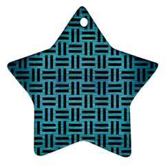 Woven1 Black Marble & Teal Brushed Metal Ornament (star)