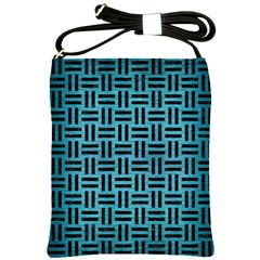 Woven1 Black Marble & Teal Brushed Metal Shoulder Sling Bags