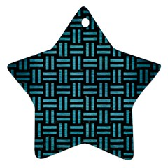 Woven1 Black Marble & Teal Brushed Metal (r) Ornament (star)