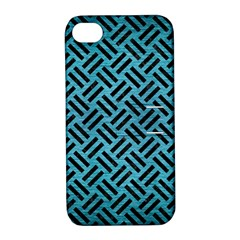 Woven2 Black Marble & Teal Brushed Metal Apple Iphone 4/4s Hardshell Case With Stand