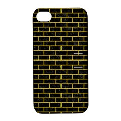 Brick1 Black Marble & Yellow Denim (r) Apple Iphone 4/4s Hardshell Case With Stand