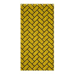 Brick2 Black Marble & Yellow Denim Shower Curtain 36  X 72  (stall)
