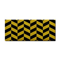 Chevron1 Black Marble & Yellow Denim Cosmetic Storage Cases