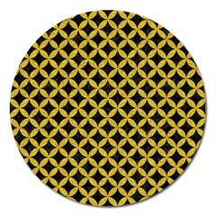 Circles3 Black Marble & Yellow Denim (r) Magnet 5  (round)