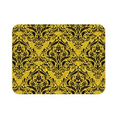 Damask1 Black Marble & Yellow Denim Double Sided Flano Blanket (mini)