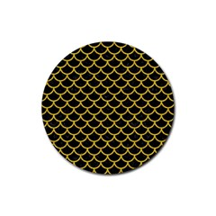 Scales1 Black Marble & Yellow Denim (r) Rubber Round Coaster (4 Pack)