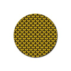 Scales3 Black Marble & Yellow Denim Rubber Round Coaster (4 Pack)