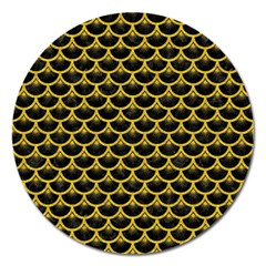 Scales3 Black Marble & Yellow Denim (r) Magnet 5  (round)