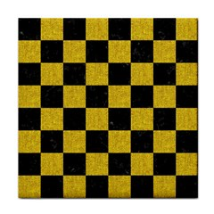Square1 Black Marble & Yellow Denim Face Towel