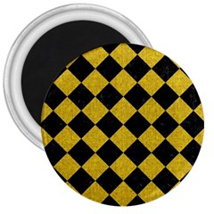 Square2 Black Marble & Yellow Denim 3  Magnets