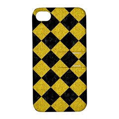 Square2 Black Marble & Yellow Denim Apple Iphone 4/4s Hardshell Case With Stand