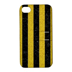 Stripes1 Black Marble & Yellow Denim Apple Iphone 4/4s Hardshell Case With Stand