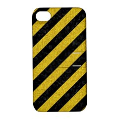 Stripes3 Black Marble & Yellow Denim (r) Apple Iphone 4/4s Hardshell Case With Stand