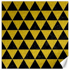 Triangle3 Black Marble & Yellow Denim Canvas 20  X 20