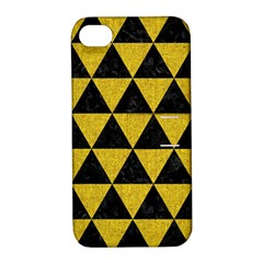 Triangle3 Black Marble & Yellow Denim Apple Iphone 4/4s Hardshell Case With Stand