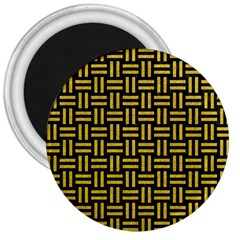Woven1 Black Marble & Yellow Denim (r) 3  Magnets