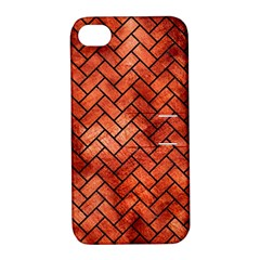 Brick2 Black Marble & Copper Paint Apple Iphone 4/4s Hardshell Case With Stand