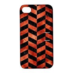 Chevron1 Black Marble & Copper Paint Apple Iphone 4/4s Hardshell Case With Stand