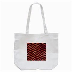 Chevron1 Black Marble & Copper Paint Tote Bag (white)