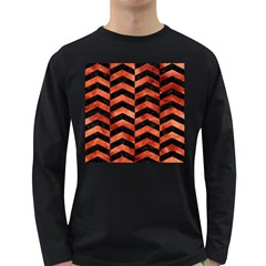 Chevron2 Black Marble & Copper Paint Long Sleeve Dark T Shirts