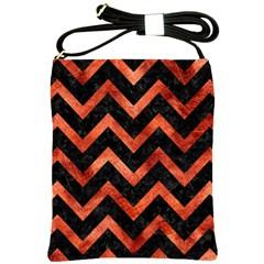 Chevron9 Black Marble & Copper Paint (r) Shoulder Sling Bags