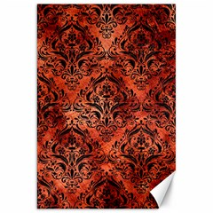 Damask1 Black Marble & Copper Paint Canvas 20  X 30