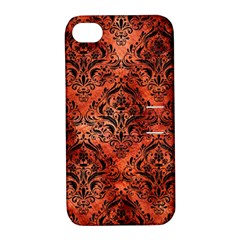 Damask1 Black Marble & Copper Paint Apple Iphone 4/4s Hardshell Case With Stand