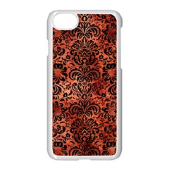Damask2 Black Marble & Copper Paint Apple Iphone 8 Seamless Case (white)