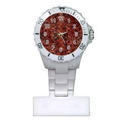 Damask2 Black Marble & Copper Paint (r) Plastic Nurses Watch