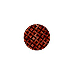 Houndstooth2 Black Marble & Copper Paint 1  Mini Buttons