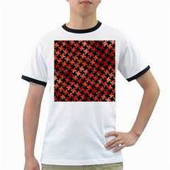 Houndstooth2 Black Marble & Copper Paint Ringer T Shirts