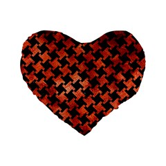 Houndstooth2 Black Marble & Copper Paint Standard 16  Premium Heart Shape Cushions