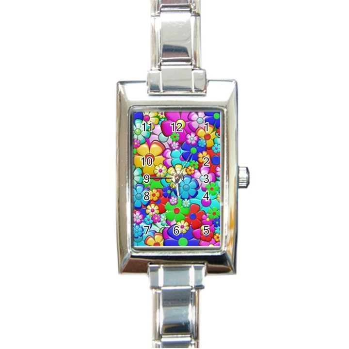 Flowers Ornament Decoration Rectangle Italian Charm Watch
