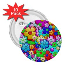 Flowers Ornament Decoration 2 25  Buttons (10 Pack)
