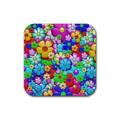 Flowers Ornament Decoration Rubber Square Coaster (4 Pack)