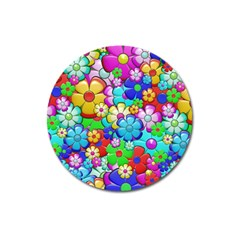 Flowers Ornament Decoration Magnet 3  (round)