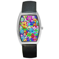 Flowers Ornament Decoration Barrel Style Metal Watch