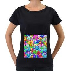 Flowers Ornament Decoration Women s Loose Fit T Shirt (black)