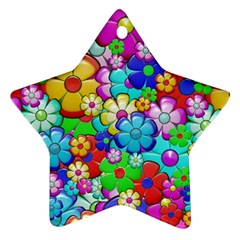 Flowers Ornament Decoration Star Ornament (two Sides)