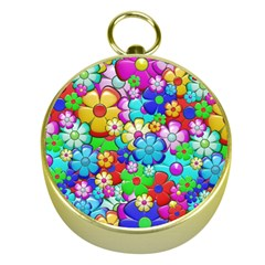 Flowers Ornament Decoration Gold Compasses