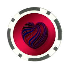 Heart Love Luck Abstract Poker Chip Card Guard (10 Pack)