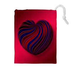 Heart Love Luck Abstract Drawstring Pouches (extra Large)