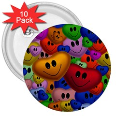 Heart Love Smile Smilie 3  Buttons (10 Pack)